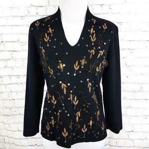 Sale Gold Embellished Black Silk Knit Sweater Top